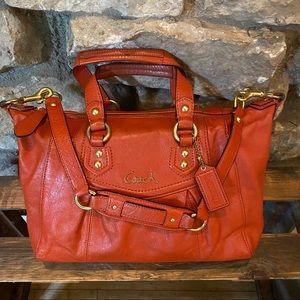 COACH HANDBAG Orange Leather